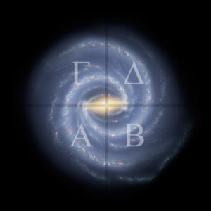 Onze melkweg met daarop de vier kwadranten